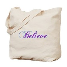Believe Gifts in Purple & Teal Tote Bag
