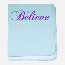 Believe Gifts in Purple & Teal baby blanket