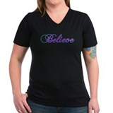Believe Womens V-Neck T-shirts (Dark)