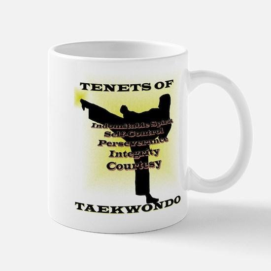 Traditional Taekwondo Tenets Gold Mug