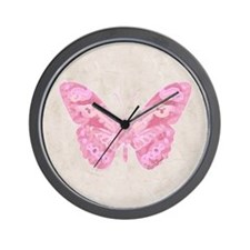 Pink Butterfly Wall Clock