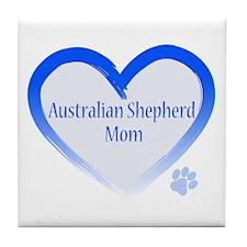 Australian Shepherd Blue Heart Tile Coaster