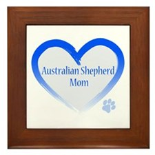 Australian Shepherd Blue Heart Framed Tile