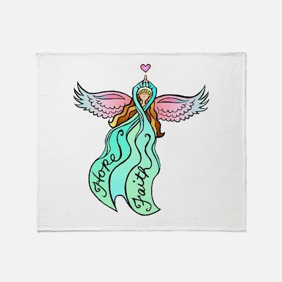 Teal Angel Throw Blanket