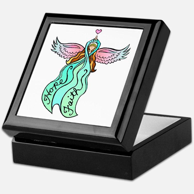Teal Angel Keepsake Box