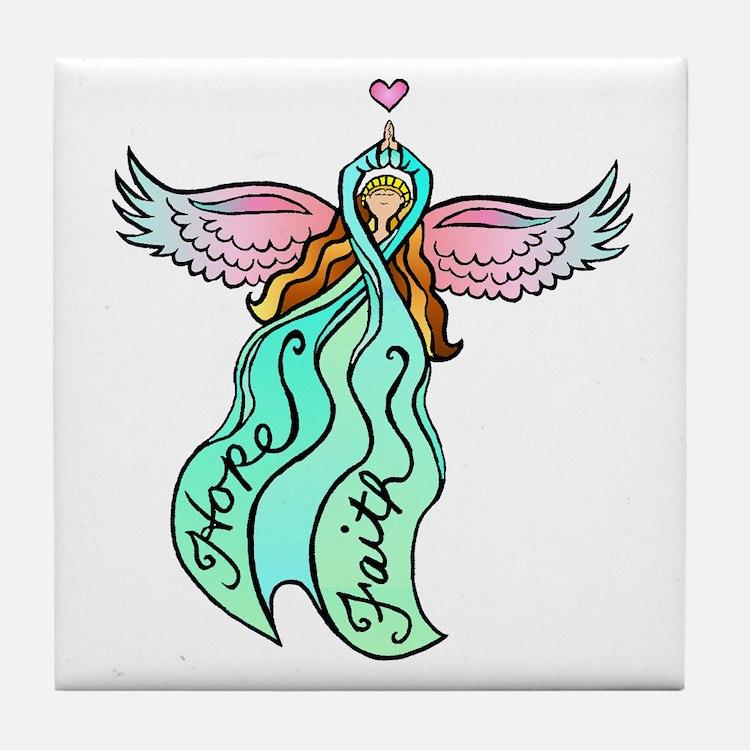 Teal Angel Tile Coaster