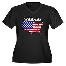 WikiLeaks America Women's Plus Size V-Neck Dark T-