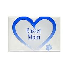 Basset Blue Heart Rectangle Magnet