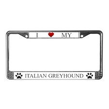 White I Love My Italian Greyhound Frame