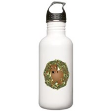 Dachshund Xmas Wreath Water Bottle