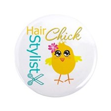"Hair Stylist Chick v2 3.5"" Button"