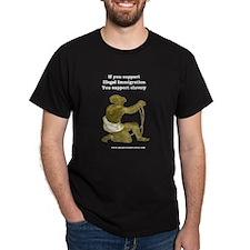 Illegal Immigration = Slavery Black T-Shirt