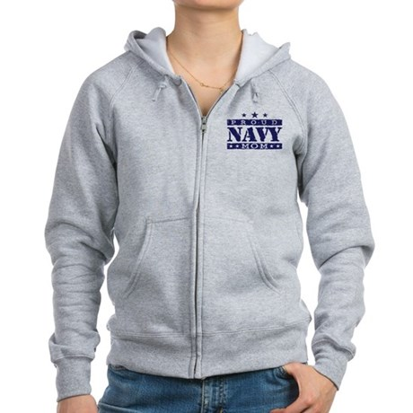 Proud Navy Mom Women's Zip Hoodie