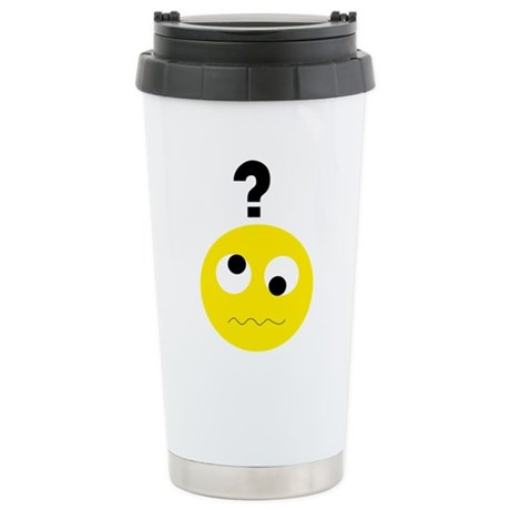 Confused Smiley Stainless Steel Travel Mug