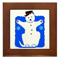 Holiday Westie Snowman Framed Tile
