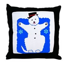 Holiday Westie Snowman Throw Pillow