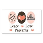 Peace Love Pageant Sticker (Rectangle 10 pk)