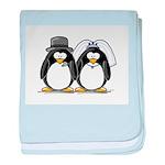 Bride and Groom Penguins baby blanket
