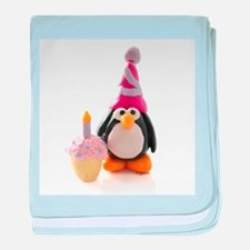 Birthday Penguin baby blanket