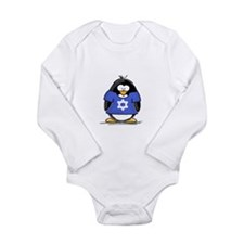 Star of David Penguin Long Sleeve Infant Bodysuit