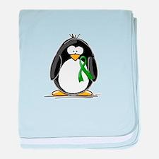 Green Ribbon Penguin baby blanket