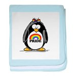 Gay Pride Girl Penguin baby blanket