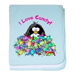 I Love Candy Penguin baby blanket