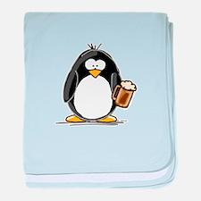 Beer Drinking Penguin baby blanket