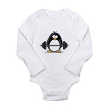 Weight lifting penguin Long Sleeve Infant Bodysuit