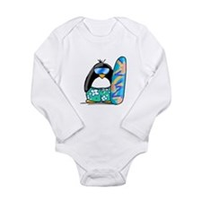 Surfing Penguin Long Sleeve Infant Bodysuit