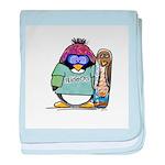 SnowBoard Penguin baby blanket