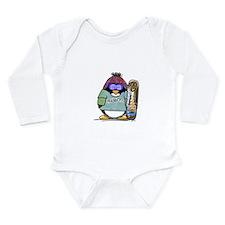 SnowBoard Penguin Long Sleeve Infant Bodysuit