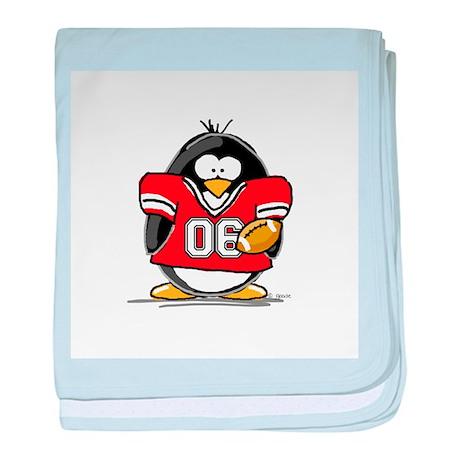 Red Football Penguin baby blanket