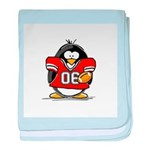Red Football Penguin baby blanket