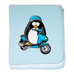 Blue Scooter Penguin baby blanket