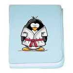 Martial Arts red belt penguin baby blanket