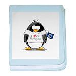 Michigan Penguin baby blanket