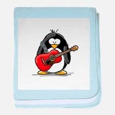 Red Acoustic Guitar Penguin baby blanket