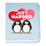 Just Married Penguins baby blanket