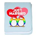 Just Married Rainbow Penguins baby blanket