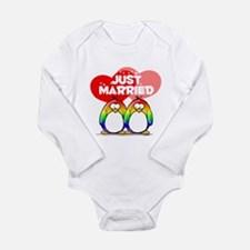 Just Married Rainbow Penguins Long Sleeve Infant B