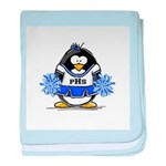Blue CheerLeader Penguin baby blanket
