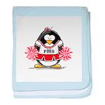 Red CheerLeader Penguin baby blanket