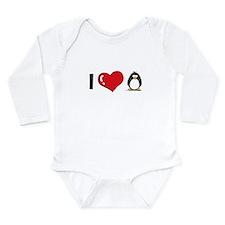I Love Penguins Long Sleeve Infant Bodysuit