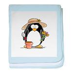 Gardening Penguin baby blanket