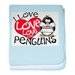 I Love Love Love Penguins baby blanket