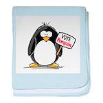Vote Penguin baby blanket
