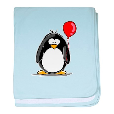 Red Balloon Penguin baby blanket