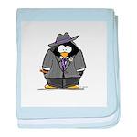 Mobster penguin baby blanket