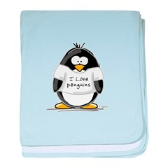 I Love Penguins penguin baby blanket